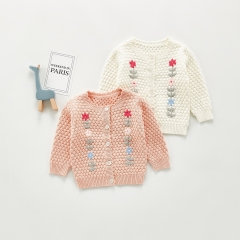 ins 2020 spring and autumn baby infant sweater knitted hand-embroidered coat jacket all-match cardigan wholesale