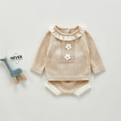Autumn style baby lapel suit baby girl's lace european style knitted pullover top and short pants sets wholesale