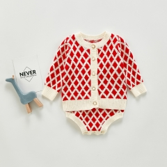 Diamond Print Sweater Baby Long Sleeve Rhombus Knit Pattern Cardigan + romper sets in Autumn Winter Wholesale