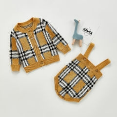 Baby Girls Sweaters Kids Autumn Sweater Children Plaid Cardigan with Romper sets wholesale