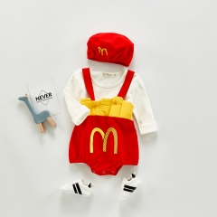 Hot Sale Autumn New Arrival 2020 M's Suspenders Baby Girls Romper With T-shirt hat 3-pieces wholesale