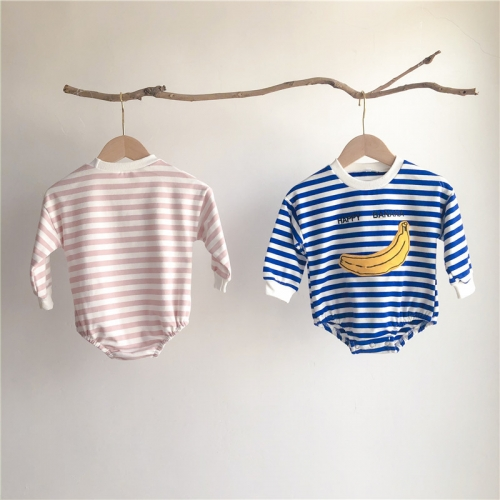 bulk wholesale autumn winter wear cute embroidery stripe soft baby cotton romper
