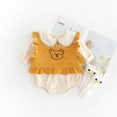 Long sleeve girl pure cotton cute bear cartoon vest girl vest with one-piece vest buy directly from Chinese supplier in autumn wholesale