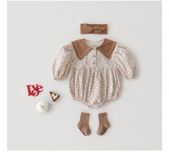 2021 Baby Girls Romper Spring Autumn Infant Newborn Long Sleeve Ruffled Jumpsuit Outfit Set Baby Winter Clothing Wholesale