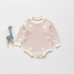 New Baby Knitted Jumpsuit With Crochet Flower Long Sleeve Baby Girls Rompers Wholesale