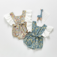 floral prints ruffle sleeve baby custom labels design kids romper little girl Wholesale