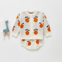 2-pieces cartoon fruits pattern baby crocheted sets wholesale